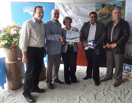 Pictured at the 2015 National Blue Flag Launch ceremony on Tuesday, 6 October were (from left to right) Dr Thommie Burger (CEO of WESSA); the Honourable Derek Hanekom (Minister of Tourism);  Ald. Nicolette Botha-Guthrie (Executive Mayor Overstrand Municipality); Roderick Williams (Director of Community Services Overstrand Municipality) and Coenie Groenewald (Municipal Manager Overstrand Municipality)