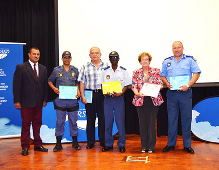 Pictured at the official handover of the Operational Grid Plans at the Festive Season Operational Launch are (from left to right) Director of Protection Services, Neville Michaels; SAPS representative, Lieutenant Poni; Municipal Manager, Coenie Groenewald; SAPS representative, Warrant Officer Spandiel; Executive Mayor, Nicolette Botha-Guthrie and Chief of Traffic/Licenses, Rudi Fraser)